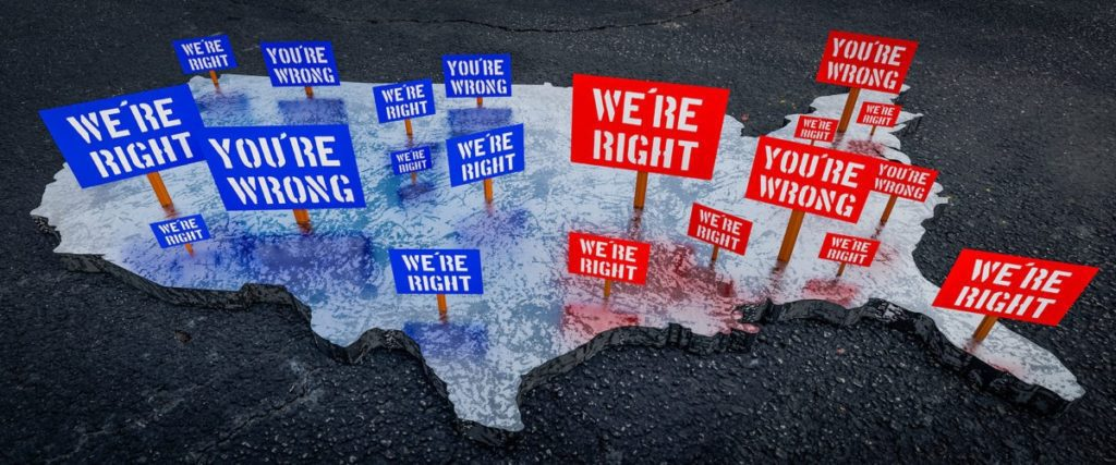 Map of America with Voting Signs